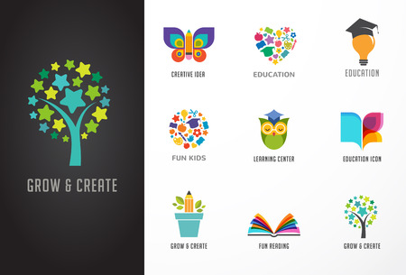 tree of knowledge: Education icons, elements set. Book, student hat, owl and tree symbols