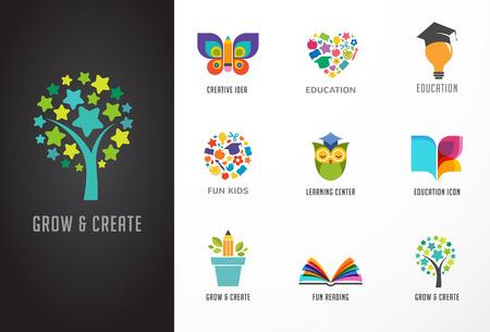Iconos de la educación, Conjunto de elementos. Libro, sombrero de estudiante, búho y símbolos de árbol Ilustración de vector