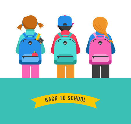 child standing: Poster with students, kids, bags, backpacks. Back to school concept