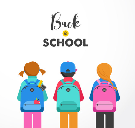 Poster with students, kids, bags, backpacks. Back to school concept