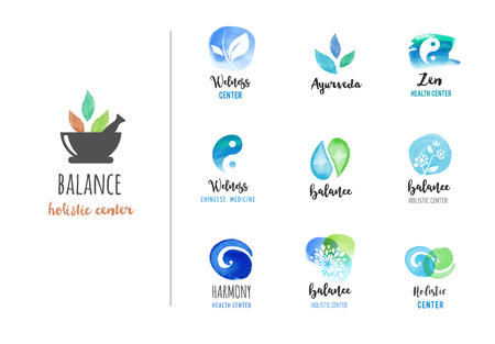 Alternative medicine and wellness, yoga, zen meditation concept - vector watercolor icons, logos Ilustração