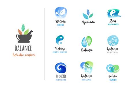 Médecine alternative et bien-être, le yoga, le concept de la méditation zen - icônes vecteur aquarelle, logos