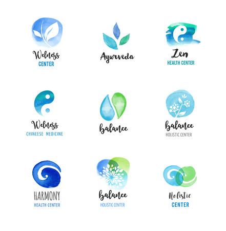 Alternative medicine and wellness, yoga, zen meditation concept - vector watercolor icons, logos Vettoriali