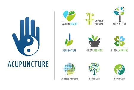 acupuntura china: , La medicina alternativa china y el bienestar, yoga, zen meditación concepto - vector iconos, logos
