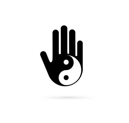 Alternative, Chinese medicine and wellness, yoga, zen meditation concept - vector yin yang with hand icon, logo Vectores