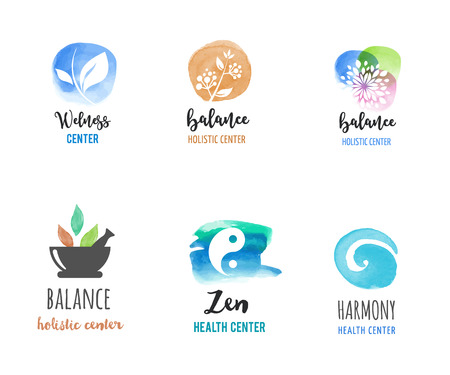 La medicina alternativa y el bienestar, el yoga, la meditación concepto zen - iconos del vector acuarela, logotipos Logos