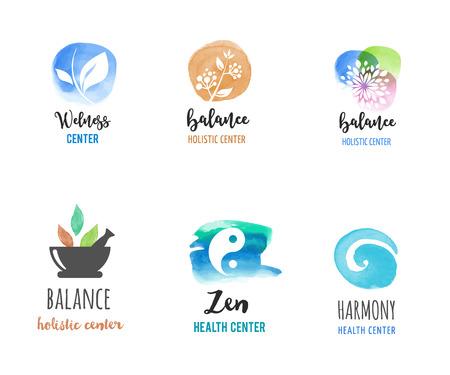 Medicina alternativa e benessere, yoga, zen concetto di meditazione - icone vettore acquerello, loghi Archivio Fotografico - 59742759