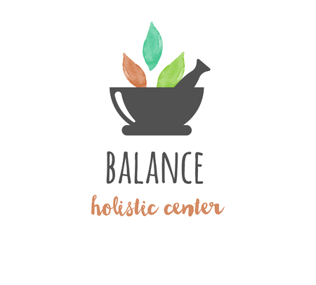 wellness center: Alternative medicine and wellness, yoga, zen meditation concept - vector watercolor icon, logo