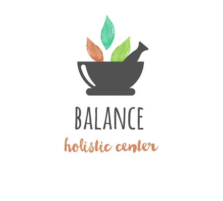 La medicina alternativa y el bienestar, el yoga, la meditación concepto zen - icono del vector de la acuarela, logotipo