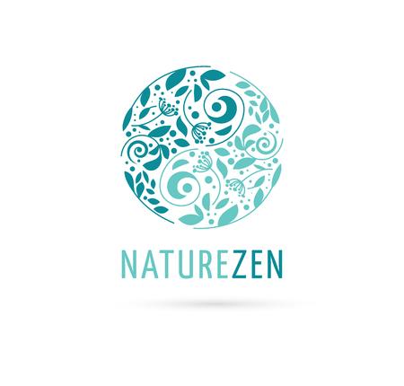 naturaleza: , La medicina alternativa china y el bienestar, el yoga, la meditación concepto zen - vector icono de yang del yin, logotipo