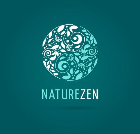 , La medicina alternativa china y el bienestar, el yoga, la meditación concepto zen - vector icono de yang del yin, logotipo