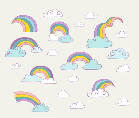 cloud vector: Rainbow set of hand drawn vector illustrations, icons and cards Illustration