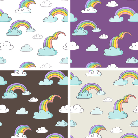 homosexual wedding: Rainbow - set of hand drawn vector seamless patterns