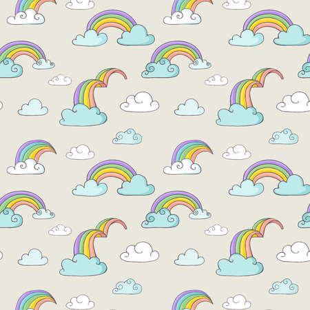 homosexual wedding: Rainbow - hand drawn vector seamless pattern Illustration