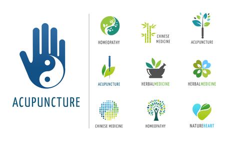 , La medicina alternativa china y el bienestar, yoga, zen meditación concepto - vector iconos, logos