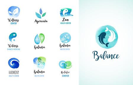 Alternative medicine and wellness, yoga, zen meditation concept - vector watercolor icons, logos 일러스트