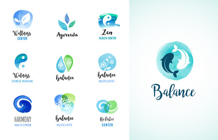 wellness center: Alternative medicine and wellness, yoga, zen meditation concept - vector watercolor icons, logos Illustration