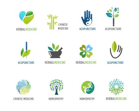 medicamento: , La medicina alternativa china y el bienestar, yoga, zen meditación concepto - vector iconos, logos