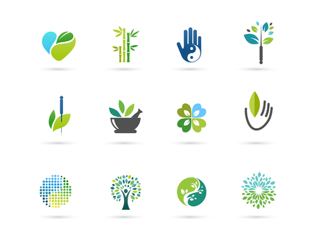 Alternative, Chinese medicine and wellness, yoga, zen meditation concept - vector icons, logos Illusztráció