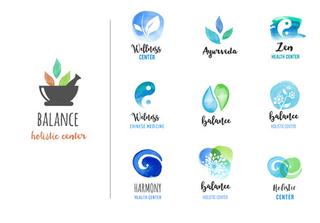 La medicina alternativa y el bienestar, el yoga, la meditación concepto zen - iconos del vector acuarela, logotipos