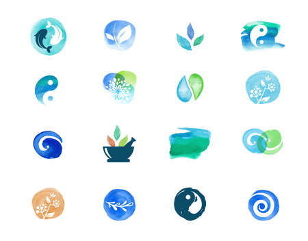 Alternative medicine and wellness, yoga, zen meditation concept - vector watercolor icons, logos Çizim