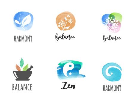 Alternatieve geneeskunde en wellness, yoga, zen meditatie concept - vector aquarel iconen, logos