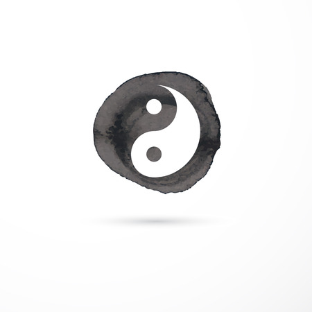 tai chi: Alternative medicine and martial, yin yang concept - vector watercolor icon Illustration