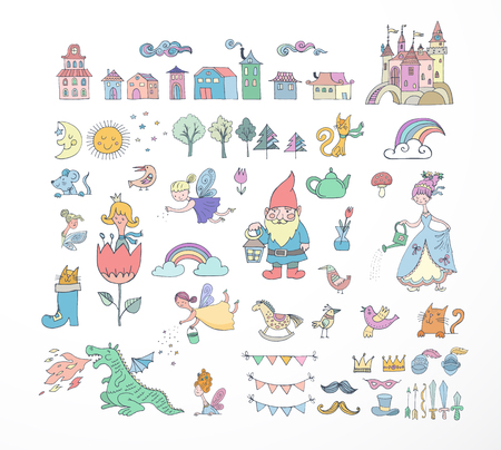 Collection of fairy tales hand drawn doodles, illustrations Stock Illustratie