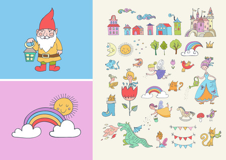 Collection of fairy tales hand drawn doodles, illustrations Vektorové ilustrace