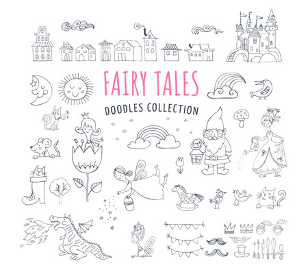 Collection of fairy tales hand drawn doodles, illustrations Vectores