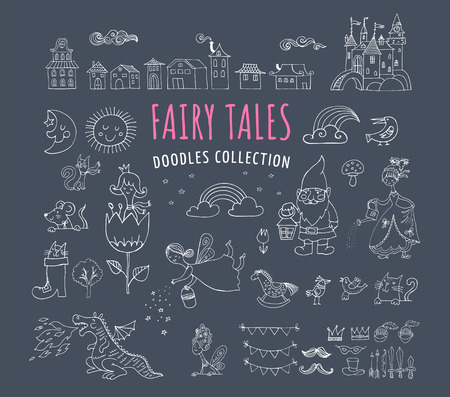 tales: Collection of fairy tales hand drawn doodles, illustrations Illustration