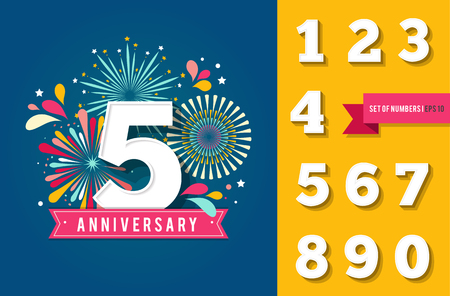Anniversary fireworks and celebration background, set of numbers 向量圖像