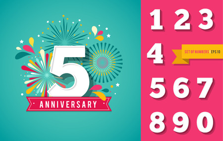 celebration background: Anniversary fireworks and celebration background, set of numbers