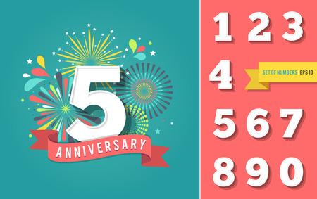 Jahrestag Feuerwerk und Feier Hintergrund, Set von Zahlen Standard-Bild - 60330224