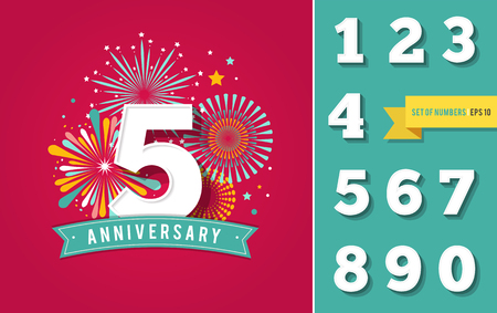Anniversary fireworks and celebration background, set of numbers 免版税图像 - 60330223