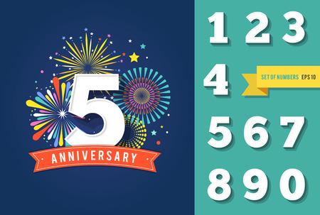 fuochi d'artificio anniversario e celebrazione sfondo, set di numeri