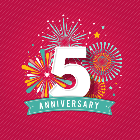 Anniversary fireworks and celebration background, poster, banner