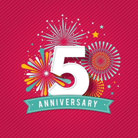 anniversaire: feux d'artifice anniversaire et célébration fond, affiche, bannière