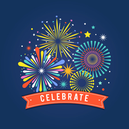celebrate year: Fireworks and celebration background, winner and victory poster, banner