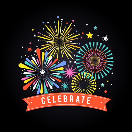 celebration: Fireworks and celebration background, winner and victory poster, banner
