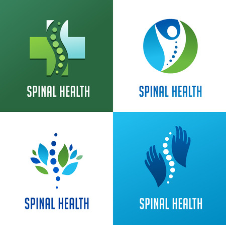 man back pain: Chiropractic, massage, back pain and osteopathy icons Illustration