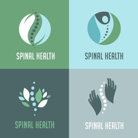 chiropractor: Chiropractic, massage, back pain and osteopathy icons Illustration