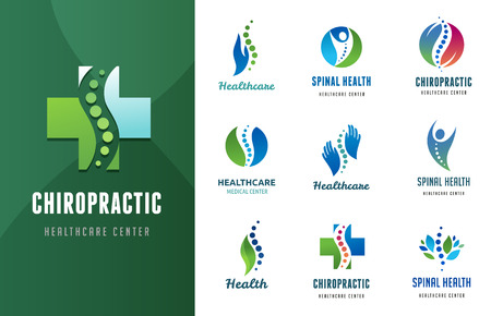 Chiropractic, massage, back pain and osteopathy icons 일러스트