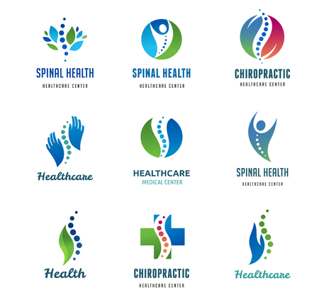 Chiropractic, massage, back pain and osteopathy icons Vectores