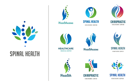 Chiropractic, massage, back pain and osteopathy icons Illustration