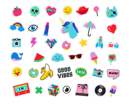 Pop art fashion chic patches, pins, badges, cartoons and stickers Vettoriali
