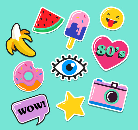 Pop art fashion chic patches, pins, badges, cartoons and stickers Vectores