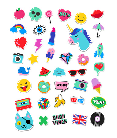 Pop art fashion chic patches, pins, badges, cartoons and stickers Çizim