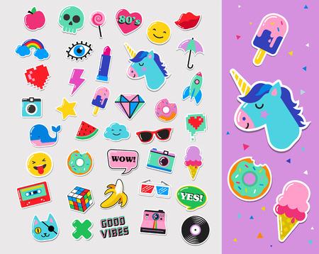 Fashion art Pop chic patch, spille, distintivi, cartoni animati e adesivi Archivio Fotografico - 64662928