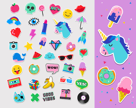 Pop art mode chic patches, pins, badges, cartoons en stickers
